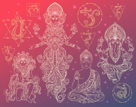 muladhara: Set Hindu gods Ganesh, Hanuman, Navratri, Buddha. Geometric element hand drawn. Set chakras muladhara, sahasrara, ajna, vishuddha, anahata, manipura, svadhishana.