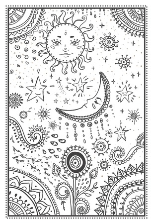 太陽と月、星のイラスト。観賞用のマンダラ。  イラスト・ベクター素材