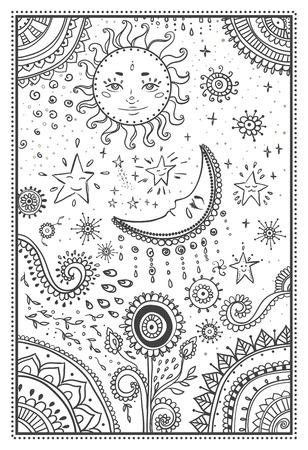 Illustration of the sun and the moon, the stars. Ornamental mandala. Illustration