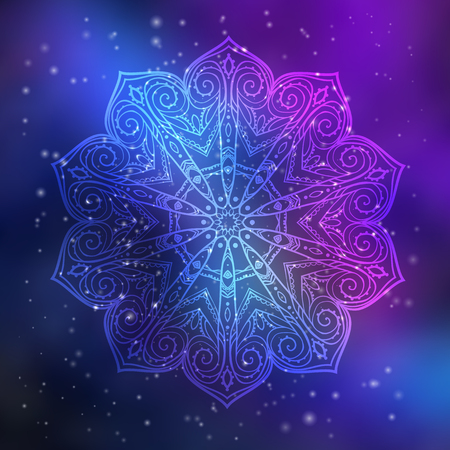 Ornament invitation card with mandala. Geometric circle element made in vector. Mandala for decoration holiday cards, background and sites. Kaleidoscope, medallion, yoga, India, arabic Çizim