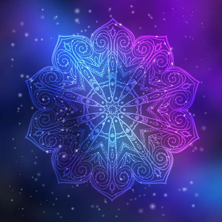 Ornament uitnodigingskaart met mandala. Geometrische cirkel element gemaakt in vector. Mandala voor decoratie vakantie kaarten, achtergrond en sites. Kaleidoscope, medaillon, yoga, India, Arabisch
