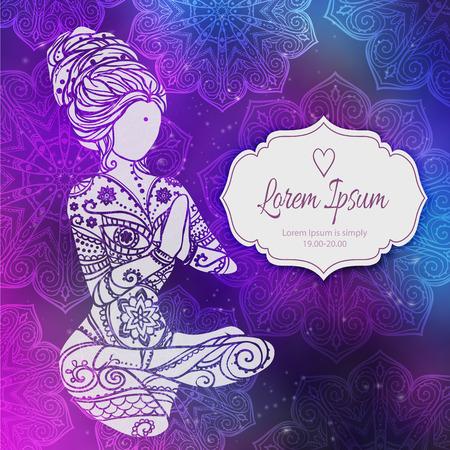 karma: Ornament beautiful card with Vector yoga. Geometric element hand drawn. Balance karma. Kaleidoscope,  medallion, yoga, india, arabic