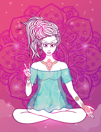 Girl meditates in the lotus position, peace gesture. Geometric element hand drawn. Psychedelic Poster in the style of 60s, 70s. Sacred Geometry. Yoga.  Promoted peace and love.