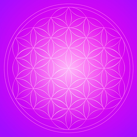 sixties: Vector geometric background is. Bright pattern. Sacred geometry, flower of life.