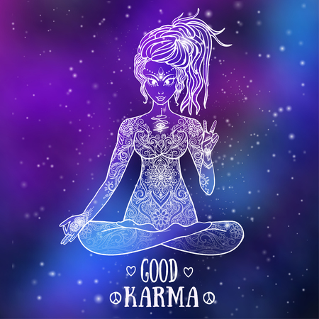 good karma: Ornament beautiful card with Vector yoga. Geometric element hand drawn. Kaleidoscope,  medallion, yoga, india, arabic, peace, love Illustration