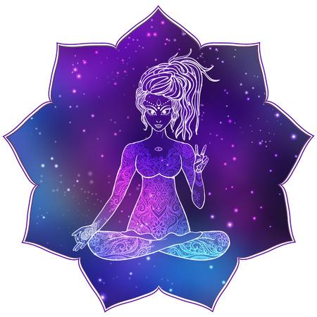 Ornament mooie kaart met Vector yoga. getekende geometrische element de hand. Kaleidoscope, medaillon, yoga, india, arabisch, vrede, liefde