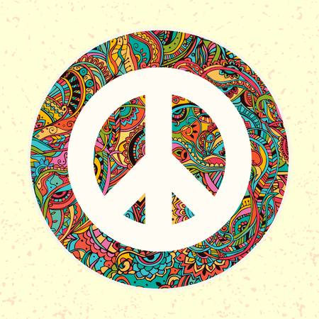 60s: Hippie style. Ornamental watercolor background. Love and Music with hand-written fonts, hand-drawn doodle background and textures. Hippy color vector illustration. Retro 1960s, 60s, 70s