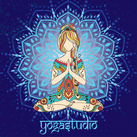 yoga meditation: Ornament beautiful card with Vector yoga. Geometric element hand drawn. Perfect  cards for any other kind of design, birthday and other holiday, kaleidoscope,  medallion, yoga, india, arabic