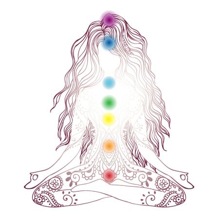 Ornement belle carte avec vecteur yoga. Elément géométrique dessiné à la main. Cartes parfaites pour tout autre type de design, anniversaire et autres vacances, kaléidoscope, médaillon, yoga, Inde, arabe Vecteurs