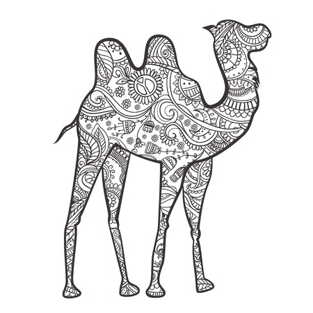 animal silhouette: Greeting card with camel. Ornamental of animal made in vector. Design element for decorations. Hand drawn map with camel desert. He lives in the arid region desert, semi-desert and steppe