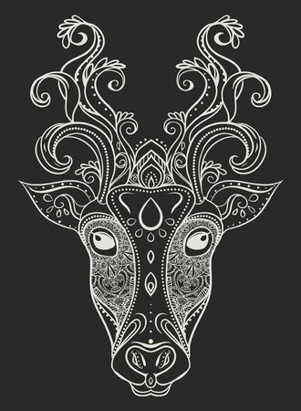 rite: Greeting Beautiful card with Cow. Frame of animal made in vector. ?ards for any design, Happy Pongal .Seamless hand drawn map with cow. The cow in Hinduism and represents fertility, purity, holiness Illustration