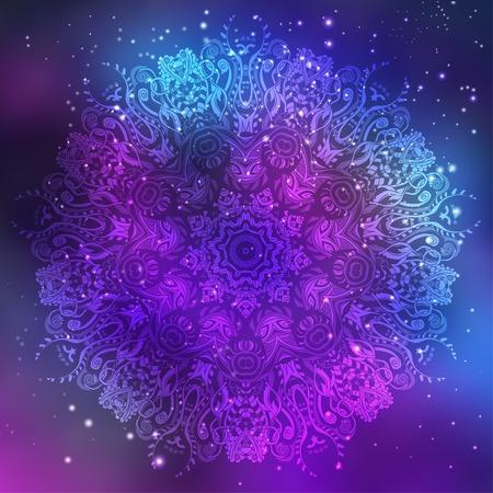 Ornament invitation card with mandala. Geometric circle element made in vector. Mandala for decoration holiday cards, background and sites. Kaleidoscope, medallion, yoga, India, arabic Stock Illustratie