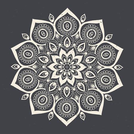 Ornement carte d'invitation avec mandala. élément de cercle géométrique faite dans le vecteur. Mandala pour les cartes décoration de vacances, fond et sites. Kaléidoscope, médaillon, le yoga, l'Inde, arabe