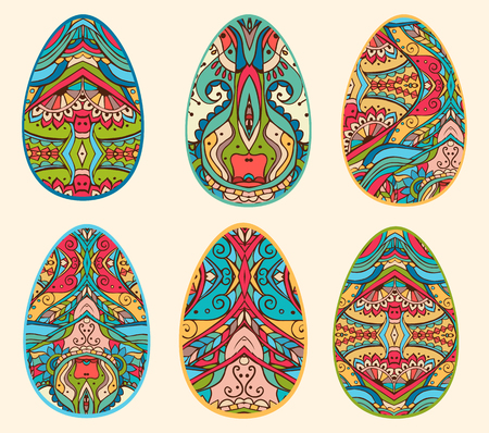 Feast of Easter. The most important Christian holiday. Set of Easter eggs for the design, textures and prints, advertising and brochures. Are decorated by various ornaments and bright colors.