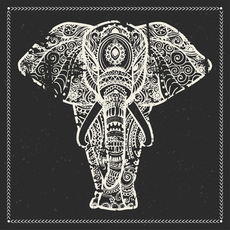 asian elephant: Greeting Beautiful card with Elephant. Frame of animal made in vector. Elephant Illustration for design, pattern, textiles. Hand drawn map with Elephant.