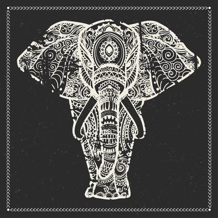 tronco: Tarjeta de felicitación hermosa con el elefante. Marco de animales hechos en vector. Elefante Ilustración para el diseño, patrón, textil. Mapa dibujado a mano con el elefante. Vectores