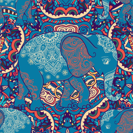 The elephant in the background of the ornament backgrounds. Bright pattern. India? ethno style.