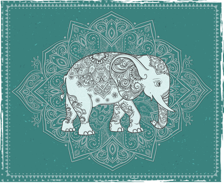 crown chakra: Greeting Beautiful card with Elephant. Frame of animal made in vector. Perfect cards, or for any other kind of design, birthday and other holiday.Seamless hand drawn map with Elephant. Illustration