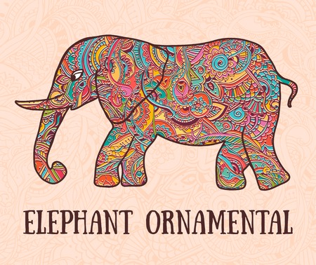 third eye: Greeting Beautiful card with Elephant. Frame of animal made in vector. Elephant Illustration for design, pattern, textiles. Hand drawn map with Elephant.