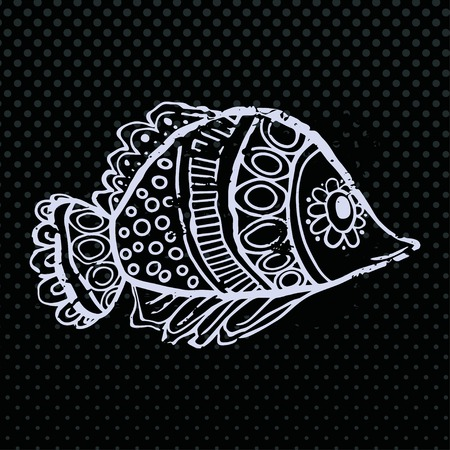 Greeting Beautiful card with fish. Frame of animal made in vector. Ethno Style. Fish Illustration for design, pattern, textiles. Hand drawn map with sia Ilustração