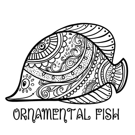 bream: Greeting Beautiful card with fish. Frame of animal made in vector. Ethno Style. Fish Illustration for design, pattern, textiles. Hand drawn map with sia Illustration