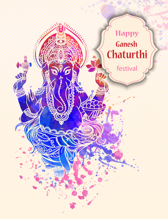 lord: Ornament beautiful card with God Ganesha. Illustration of Happy Ganesh Chaturthi. Ganesh chaturthi festival dedicated to Ganesha. Hinduism in India. Mediation Illustration