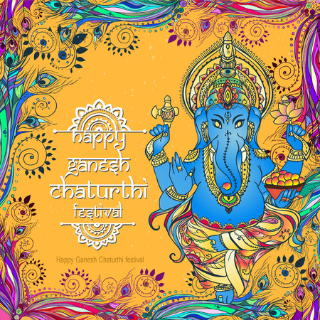 lord krishna: Ornament beautiful card with God Ganesha. Illustration of Happy Ganesh Chaturthi. Perfect  cards for any other kind of design, birthday and other holiday, kaleidoscope,  medallion, yoga, india, arabic Illustration