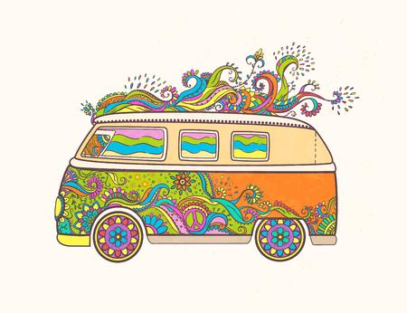 Hippie vintage auto een busje. Liefde en Muziek met handgeschreven fonts, handgetekende doodle achtergrond en texturen. Hippy kleur vector illustratie. Retro jaren 1960, 60s, 70s, Woodstock Music and Art Fair.