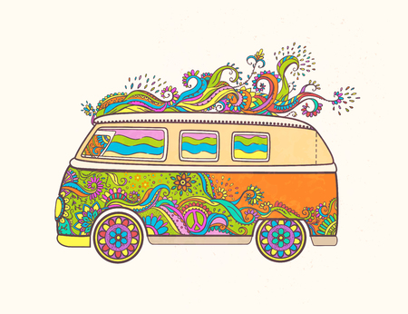 Hippie vintage car a mini van. Love and Music with hand-written fonts, hand-drawn doodle background and textures. Hippy color vector illustration. Retro 1960s, 60s, 70s, Woodstock Music and Art Fair.