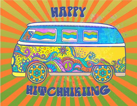 Hippie coches de época una mini furgoneta. Amor y música con las fuentes escritas a mano, fondo bosquejo dibujado a mano y texturas. ilustración vectorial de color hippy. Retro 1960s, 60s, 70s, música de Woodstock y la Feria de Arte. Ilustración de vector