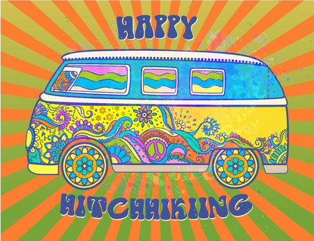 love silhouette: Hippie vintage car a mini van. Love and Music with hand-written fonts, hand-drawn doodle background and textures. Hippy color vector illustration. Retro 1960s, 60s, 70s, Woodstock Music and Art Fair.