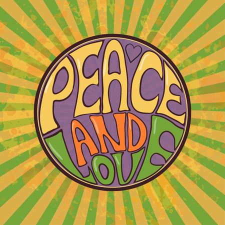 Estilo Hippie. Fundo retro ornamental Amor e música com fontes escritas à mão fundo e texturas desenhadas à mão do doodle Ilustração vetorial de cores hippy. Retro 1960s, 60s, 70s. Nós adoramos fazer carona