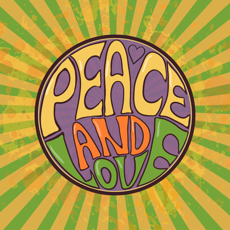 peace symbols: Hippie style. Ornamental retro background Love and Music with hand-written fonts hand-drawn doodle background and textures Hippy color vector illustration. Retro 1960s, 60s, 70s. We love hitchhiking!