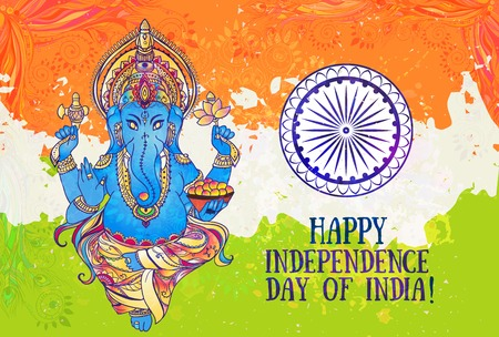 ganapati: Ornametal poster Independence Day of India It celebrated annually on August 15 Invitation card in vector Kaleidoscope medallion  india arabic Ganesha or Ganapati the Hindu god of wisdom and prosperity
