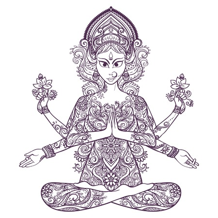 sanskrit: Ornament card with of Maa Durga. Illustration of Happy Navratri. Happy Maha Shivaratri. Navratri Festival 2016 date is falling on 1st October as per Hindu calendar. In Sanskrit means Nine Nights. Yoga