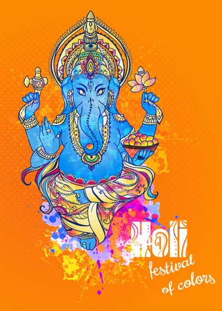 krishna: Ornament beautiful card with God Ganesha. Illustration of Happy Ganesh Chaturthi. Ganesh chaturthi festival dedicated to Ganesha. Hinduism in India. Mediation. The god of wisdom and prosperity Illustration