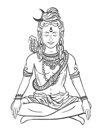 shiva: Ornament beautiful card with God Shiva. Illustration of Happy Maha Shivaratri. Mahashivaratri festival. Hinduism in India. Mediation, Shiva represents the cosmic consciousness, the masculine universe Illustration