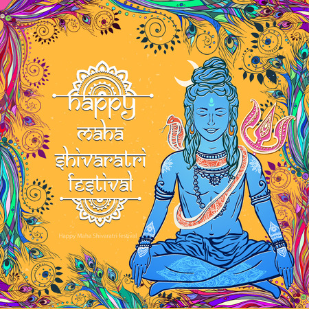 maha: Ornament beautiful card with God Shiva. Illustration of Happy Maha Shivaratri. Mahashivaratri festival. Hinduism in India. Mediation, ornament illustration Illustration