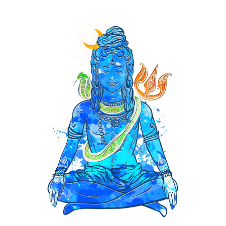 triad: Card with God Shiva. Illustration of Happy Maha Shivaratri. Mahashivaratri festival. Hinduism in India. The God included, along with Brahma and Vishnu triad in the divine and supreme god in Saivism