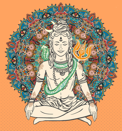 Ornament beautiful card with God Shiva. Illustration of Happy Maha Shivaratri. Mahashivaratri festival. Hinduism in India. Mediation, Shiva represents the cosmic consciousness, the masculine universe Ilustração