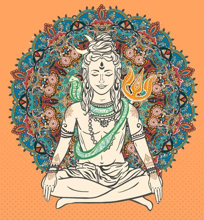 mediation: Ornament beautiful card with God Shiva. Illustration of Happy Maha Shivaratri. Mahashivaratri festival. Hinduism in India. Mediation, Shiva represents the cosmic consciousness, the masculine universe Illustration