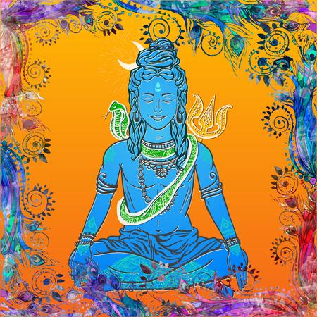 ashram: Ornament illustration with God Shiva. Illustration of Happy Maha Shivaratri. Moveable feast, we have it on the night before the new moon falls in February and March. Mahashivaratri festival.