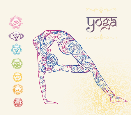 india dance: Ornament beautiful card with Vector yoga. Geometric element hand drawn. Perfect  cards for any other kind of design, birthday and other holiday, kaleidoscope,  medallion, yoga, india, arabic