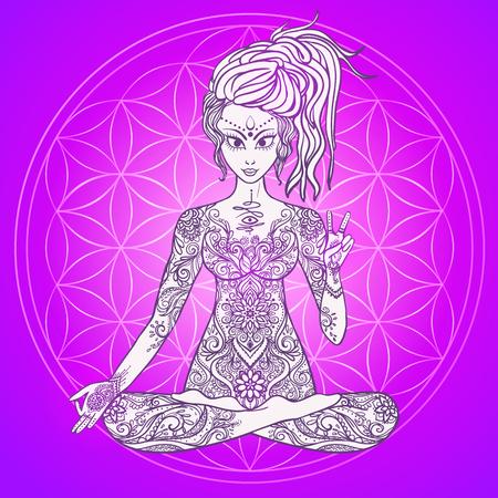 Ragazza medita nella posizione del loto, gesto di pace. disegnato geometrica elemento mano. Poster psichedelico in stile anni '60, '70. Geometria Sacra. Yoga. Promosso la pace e l'amore.