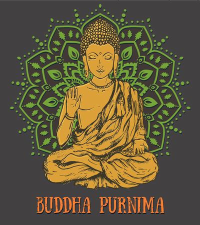 awakened: Vintage beautiful card with Buddha. Geometric element hand drawn. Medallion, yoga, india, arabic, lotus Buddha, was a sage on whose teachings Buddhism was founded. awakened one or the enlightened one Illustration