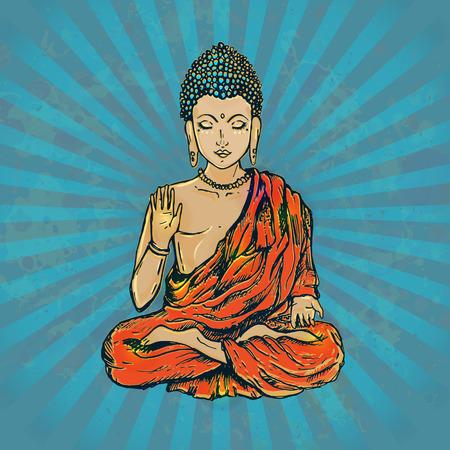 Tarjeta hermosa del vintage con Buda. dibujado a mano geométrica elemento. Medallón, el yoga, la india, árabe, loto Buda, era un sabio en cuyas enseñanzas se fundó el budismo. despierto o el iluminado Ilustración de vector