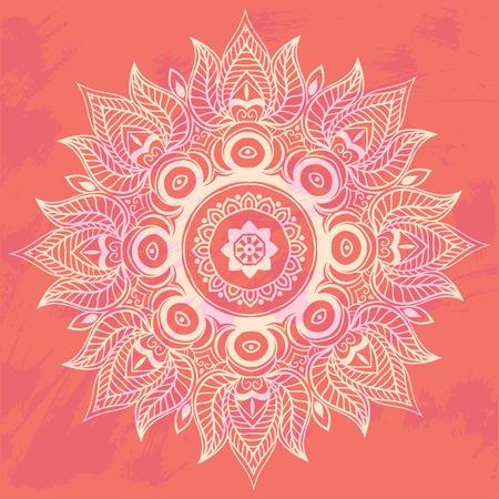 lotus flowers: Ornament invitation card with mandala. Geometric circle element made in vector. Mandala for decoration holiday cards, background and sites. Kaleidoscope, medallion, yoga, India, arabic Illustration