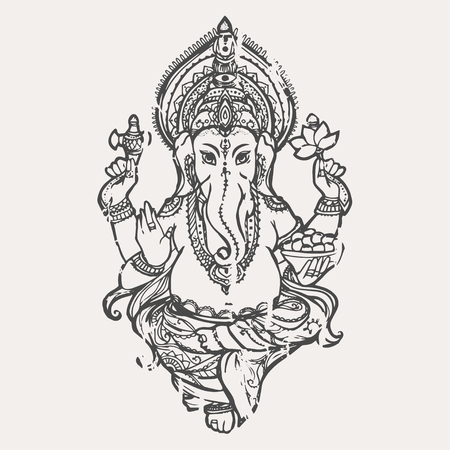 lord ganesha: Ornament beautiful card with God Ganesha. Illustration of Happy Ganesh Chaturthi. Perfect  cards for any other kind of design, birthday and other holiday, kaleidoscope,  medallion, yoga, india, arabic Illustration