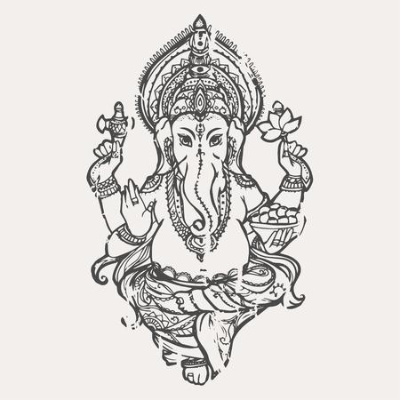 ganesh: Ornamento tarjeta hermosa con Dios Ganesha. Ilustraci�n de feliz Ganesh Chaturthi. Tarjetas perfectas para cualquier otro tipo de dise�o, cumplea�os y otro d�a de fiesta, caleidoscopio, medall�n, el yoga, la india, �rabe