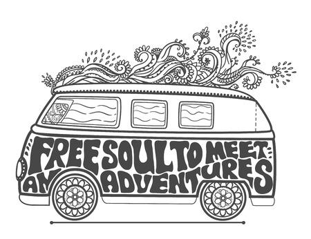 estilo hippie. Fondo ornamental retro amor y la música con las fuentes escritas a mano a mano de fondo del doodle y texturas hippy de color ilustración vectorial. Nos encanta retro autoestop